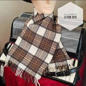 Other - SUPER WARM BROWN & IVORY WOOL FRINGED SCARF